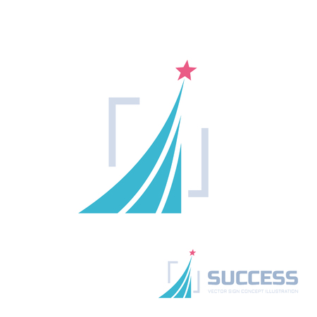Success - abstract vector logo illustration. Design elements with star sign illustration. Development logo. Growth logo. Company logo. Start-up logo sign. Vector logo template.