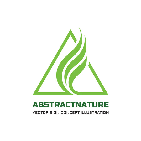 Abstract nature vector logo concept illustration for business company. Abstract green leaves in triangles shape. Triangle sign. Vector logo template. Design element.