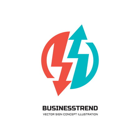 electricity: Business trend - vector logo concept illustration for business company. Abstract arrows signs in circle. Vector logo template. Design element.