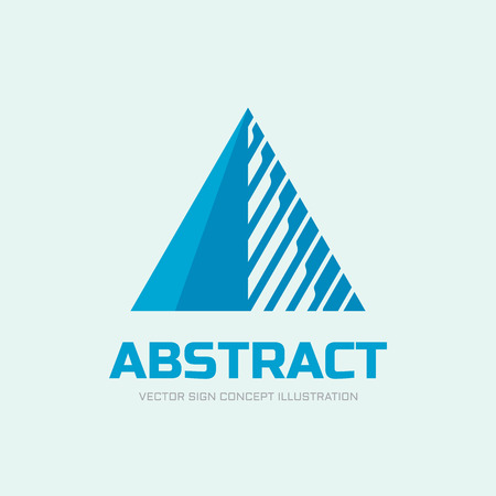 Abstract triangle vector logo concept illustration. Pyramid triangle logo. Financial stability concept logo sign. Geometric logo sign. Vector logo template. Design element. Logo