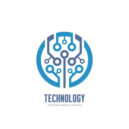 Technologie - Vektor-Logo-Konzept Illustration für Corporate Identity. Abstrakt Chip-Logo-Zeichen. Netzwerk-Logo Zeichen. Internet-Zeichen-Zeichen. Web-Logo-Zeichen. Tech-Logo. Vector-Logo-Vorlage. Design-Element.