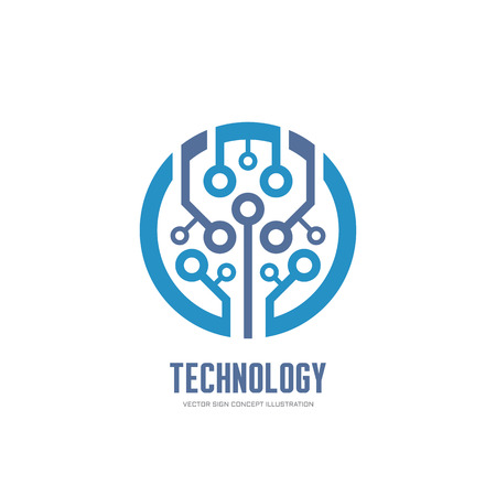 Tecnología - Vector de la insignia ilustración del concepto de identidad corporativa. Muestra abstracta logotipo de chip. Red logotipo de la muestra. Muestra de la insignia internet. Muestra de la insignia Web. logotipo de tecnología. Modelo de la insignia del vector. elemento de diseño.