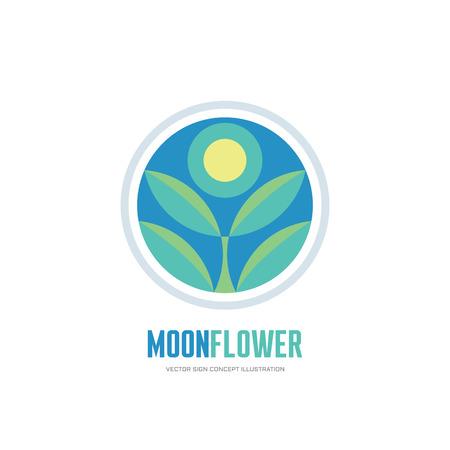 Fleur de lune - fleur laisse en cercle - illustration de concept de logo vectoriel en design plat pour identité d'entreprise. Signe de logo floral nature. Logo du produit biologique. Modèle de logo vectoriel.