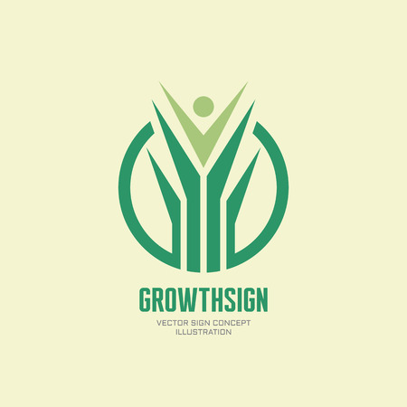 character abstract: Growth sign - vector logo concept illustration. Abstract nature logo sign in green color. Stylized leaves and human character sign in circle shape. Vector logo template. Design element.