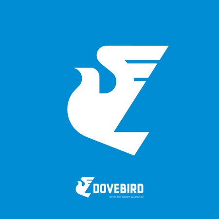 peace concept: Dovebird - abstract silhouette bird vector logo concept illustration in classic graphic design style. Dove symbol of peace. Vector logo template. Design element.