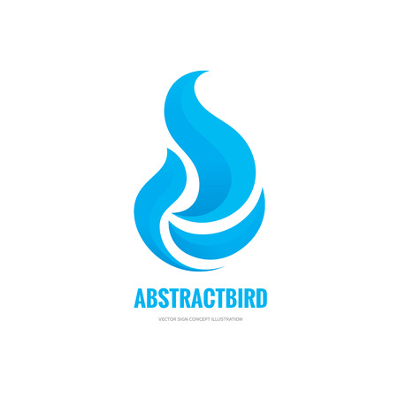 Abstract bird with wings vector sign concept illustration. Abstract dove silhouette sign. Vector logo template. Design element.