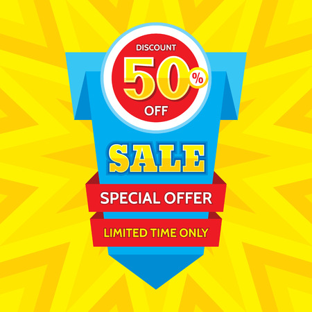 limited time: Sale vector banner - discount of 50% off. Special offer origami layout. Limited time only! Sale banner design. Sale layout. Sale background. Sale poster. Discount layout. Sale flyer. Sale sticker. Illustration