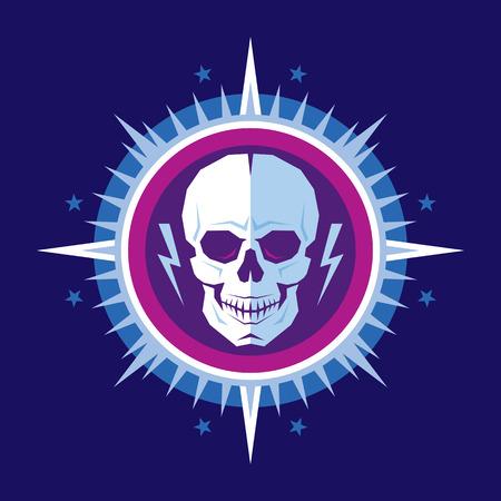skull logo: Abstract skull human character with lightnings in star with rays - creative badge vector illustration. Skuul vector sign illustration in flat design style. Human skull logo.