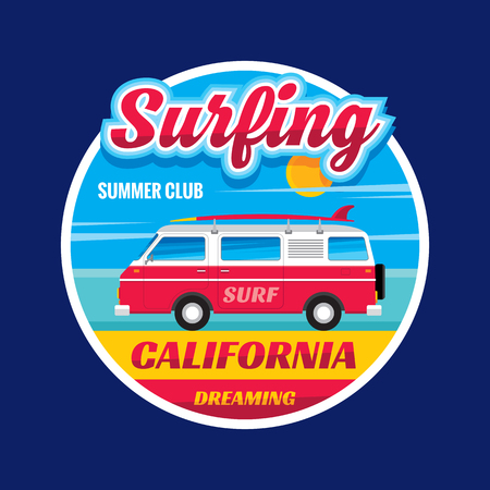 for design: Surfing - California dreams - vector illustration concept in vintage graphic style for t-shirt and other print production. Surf and car trailer vector illustration. Badge logo design. Circle layout. Illustration