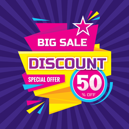 50 off: Discount 50% off - advertising vector banner in origami retro style. Big sale vector layout. Special offer concept sticker.