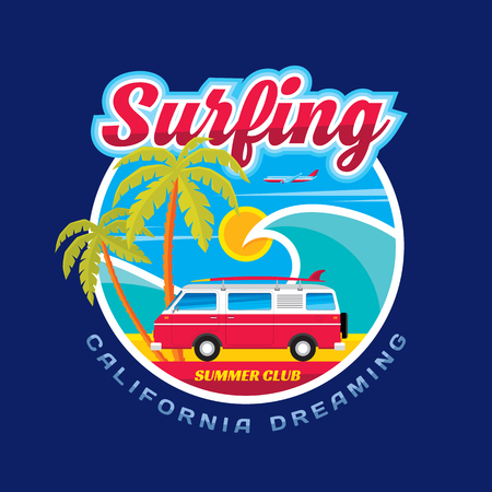 Surfing - California dreams - vector illustration concept in vintage graphic style for t-shirt and other print production. Wave, palms, sun, airplane surf and car trailer vector badge illustration.