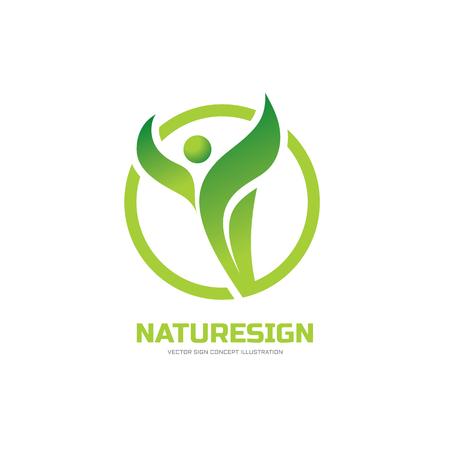 Signe Nature - vecteur logo concept illustration. Résumé caractère humain et des feuilles vertes. logo Santé signe. Banque d'images - 55946225