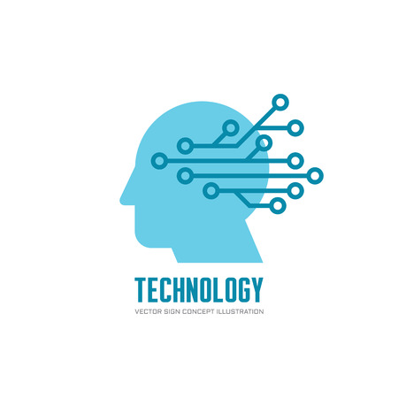 Technology - human head and electronic network - vector logo concept illustration. Digital chip human vector logo.