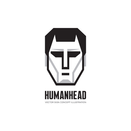 business game: Human character head vector logo concept illustration for business company, website, computer game and other projects. Man face creative illustration in black, white and gray colors. Design element.