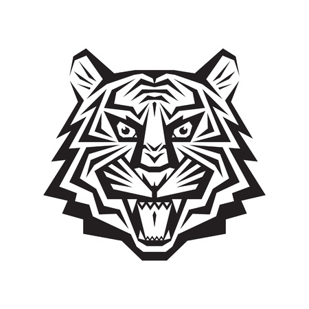silueta tigre: Pista del tigre - vector logo concepto de ilustración en el estilo gráfico clásico. La cabeza del tigre silueta. tatuaje de la cabeza del tigre. Tigre de Bengala cabeza ilustración creativa. En blanco y negro. Mandíbulas tiendas boca sonrisa.