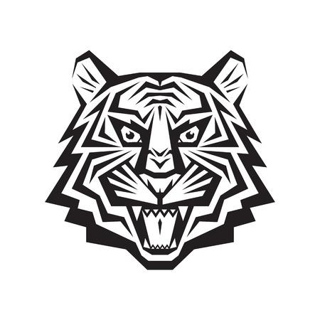 Pista del tigre - vector logo concepto de ilustración en el estilo gráfico clásico. La cabeza del tigre silueta. tatuaje de la cabeza del tigre. Tigre de Bengala cabeza ilustración creativa. En blanco y negro. Mandíbulas tiendas boca sonrisa.