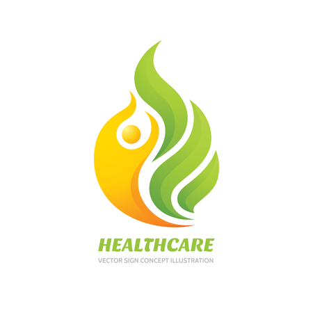 company logo: Health care vector logo concept illustration. Abstract human character and green leaves. Illustration