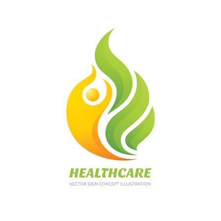 La asistencia sanitaria vector logo concepto de ilustración. Resumen de carácter humano y hojas verdes.