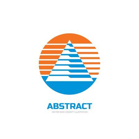 economics: Abstract vector logo concept illustration. Abstract stripes in triangle shape in circle. Sphere vector logo. Geometric logo sign. Vector logo design template.