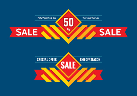 2 50: Sale - discount up to 50% - end off season - vector concept horizontal banner. Special offer - this weekend - creative vector layout.