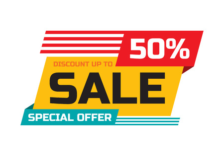 sticker: Sale - discount up to 50% - special offer - abstract promotion vector banner. Sale discount concept layout. Design element for advertising print poster or flyer. Illustration