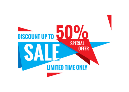 limited time: Sale vector banner - discount up to 50%. Special offer abstract layout. Limited time only! Sale banner design. Sale layout.