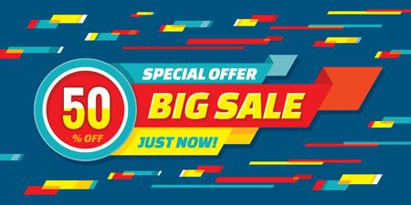banner design: Big sale abstract vector origami horizontal banner - special offer 50% off. Sale vector banner. Sale abstract background. Super big sale design layout. Origami sale banner. Sale banner template.