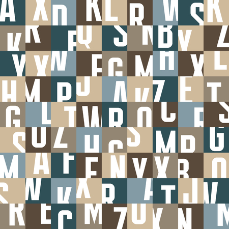 Abstract geometric typography letters background - seamless vector pattern. Ilustração