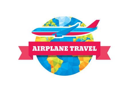 airplane travel: Airplane travel - vector concept illustration. Abstract globe, ribbon and aircraft.