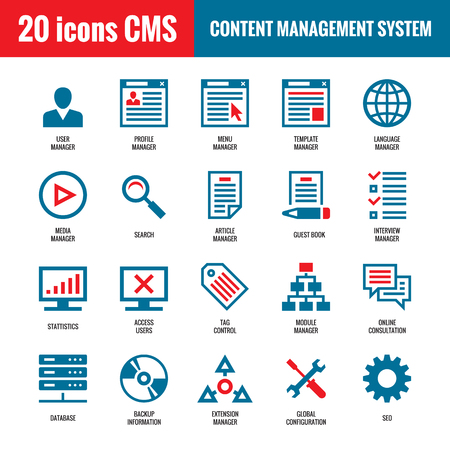 computer icons: CMS - Content Management System - 20 vector icons. SEO - Search Engine Optimization vector icons. Website internet technology vector icons. Computer vector icons. Illustration