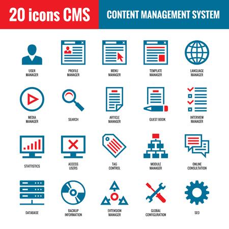 CMS - Content Management System - 20 iconos vectoriales. SEO - Search Engine Optimization vector iconos. Sitio web de tecnología de Internet iconos de vector. Iconos del vector de la computadora.