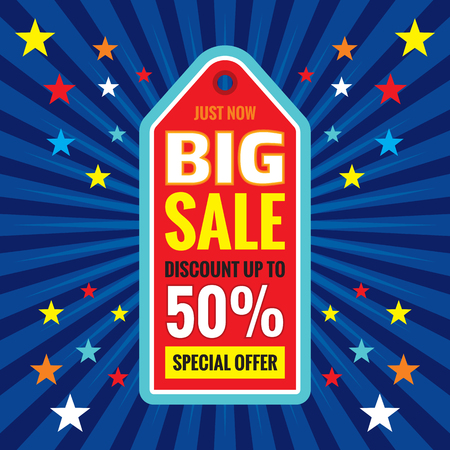 discount tag: Big sale - discount up to 50% - special offer - vector concept tag banner.