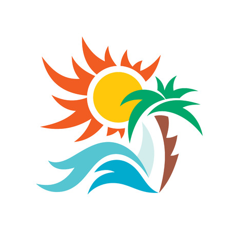 resort: Summer travel vacation vector logo concept illustration. Paradise beach color graphic sign. Sea resort logo sign. Sun, palm, sea waves and sail.