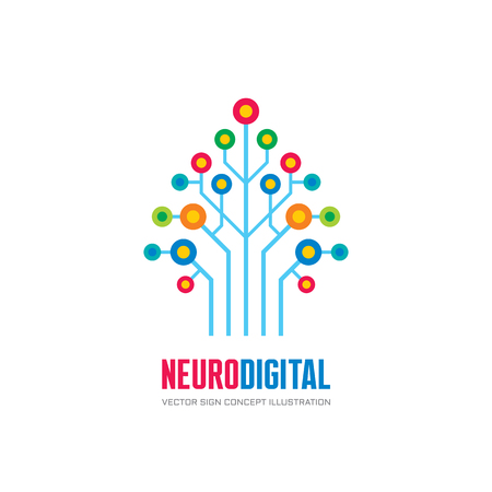 neuro: Neuro digital - vector logo concept illustration. Network tree logo sign. Computer technology logo. Vector logo template.