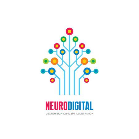 Neuro digital - vector logo concept illustratie. Netwerk boom logo teken. Computertechnologie logo. Vector logo template. Stock Illustratie