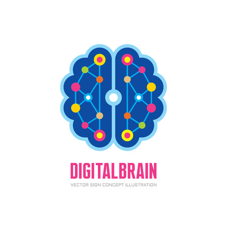 Digital human brain - vector logo concept illustration in flat style design. Mind logo sign. Future electronic structure technology creative sign. Thinking education logo sign. Ilustração