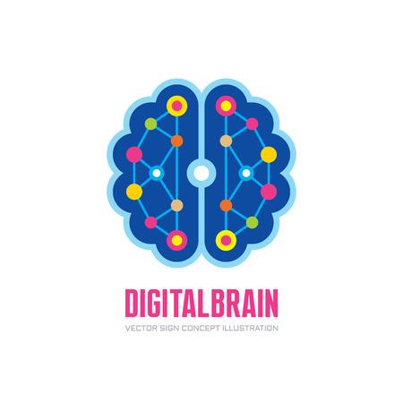 Vector de la insignia ilustración del concepto en el diseño de estilo plano - cerebro humano digital. Mente insignia de la muestra. tecnología de estructura electrónica signo creativo futuro. Pensando en la educación logotipo de la muestra. Logos