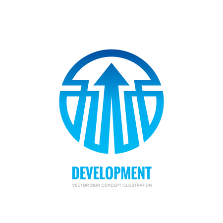 economic: Development - vector logo concept illustration. Business trend logo. Arrow in circle logo sign. Geometric lines structure abstract sign.