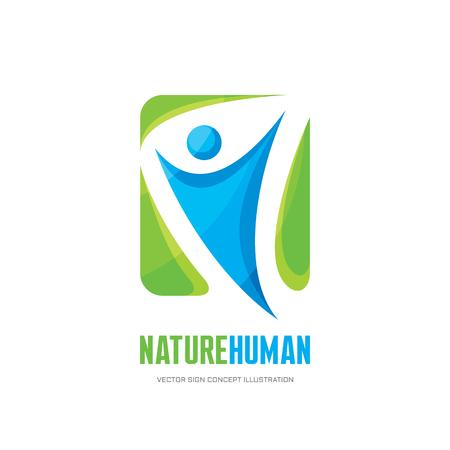 Naturaleza carácter humano - vector insignia muestra la ilustración del concepto. La figura del hombre y se va. Modelo de la insignia del vector. signo concepto de producto ecológico y biológico. símbolo de la ecología. logotipo de la salud señal.