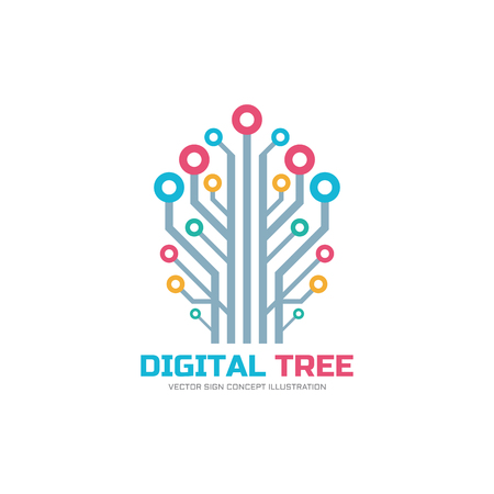Digital tree - vector logo concept illustration. Network vector sign. Imagens - 58218695