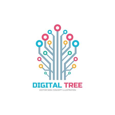 Digital tree - vector logo concept illustration. Network vector sign.