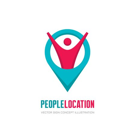 People location - vector logo concept illustration. Geo location icon sign. Abstract human character. Travel vector logo design template.