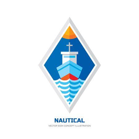 ocean liner: Nautical ship vector logo concept illustration in flat style design. Marine transport vector sign illustration. Ocean ship logo badge. Sea ship logo. Ocean liner silhouette and sea waves in rhombus. Illustration