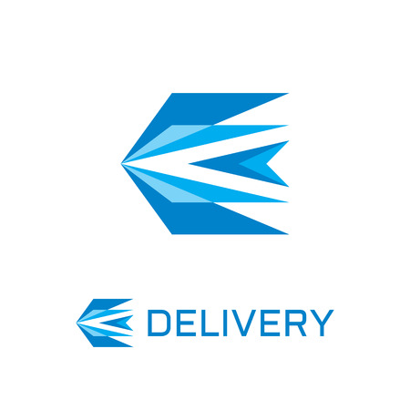 Delivery - abstract stylized bird vector logo concept illustration in flat design style. Abstract triangle shapes. Wings vector sign. Vector logo template. Design element.