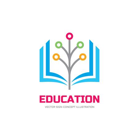 Formación vector logo concepto de ilustración. Muestra de la insignia de la escuela. libro y la ilustración estilizada árbol de la red digital. Logos