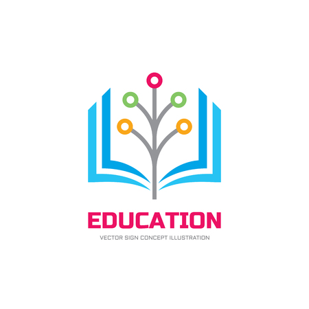 Education vector logo concept illustration. School logo sign. Stylized book and digital network tree illustration.
