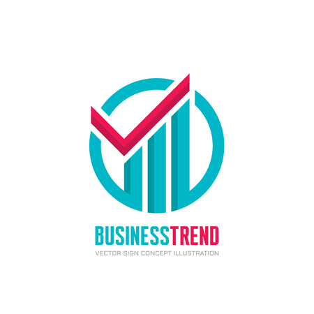 economic development: Business trend - vector logo concept illustration. Check mark and growth graphic in circle.