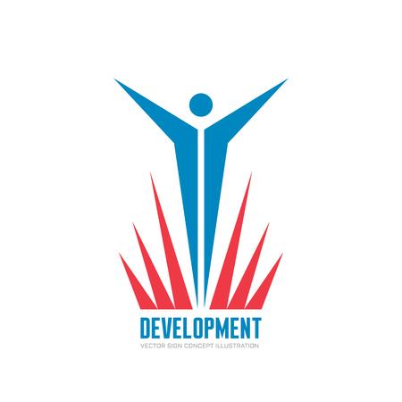 forme et sante: Développement - affaires vecteur logo signe concept illustration. Human modèle caractère logo.