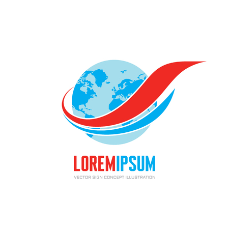 transport logo: Globe and wings ribbons - vector logo concept illustration. Travel vector logo. Airplane transport concept logo. Delivery logo. Design element.