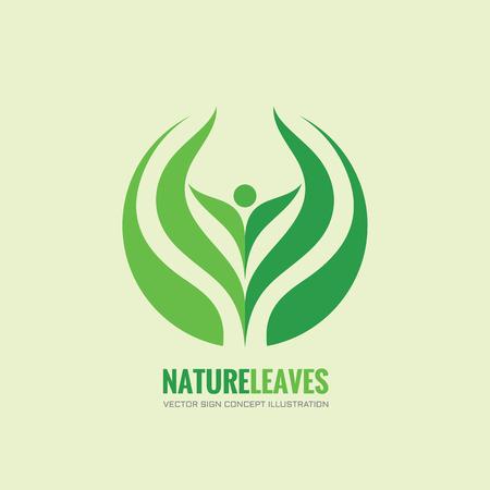 Nature leaves - vector logo concept illustration. Organic logo. Abstract human sign. Vector logo template. Design element. Vettoriali